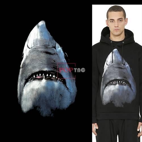鲨鱼图案印花服装裁片T恤卫衣烫图印花花型素材-POP花型网