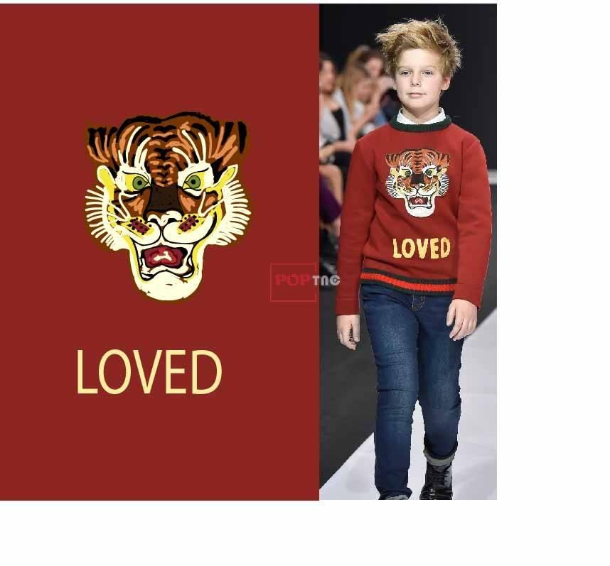 卡通手绘动物老虎印花图案服装裁片T恤卫衣烫图印花花型素材-POP花型网