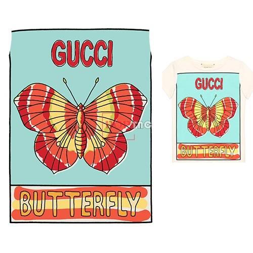 潮牌GUCCI字母蝴蝶印花图案服装裁片T恤卫衣烫图印花花型素材-POP花型网