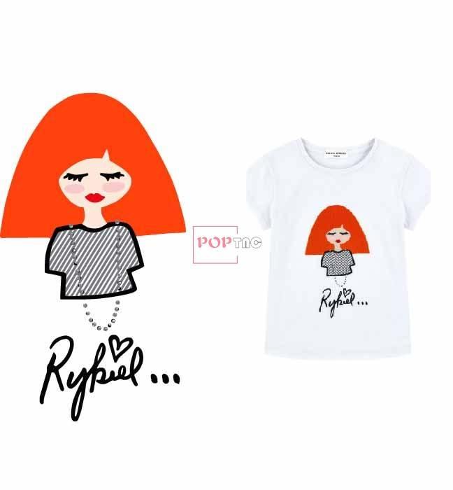卡通小女孩字母印花图案服装裁片T恤卫衣烫图印花花型素材-POP花型网