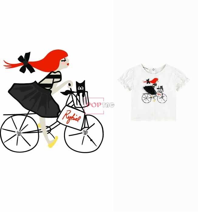 卡通小女孩自行车印花图案服装裁片T恤卫衣烫图印花花型素材-POP花型网