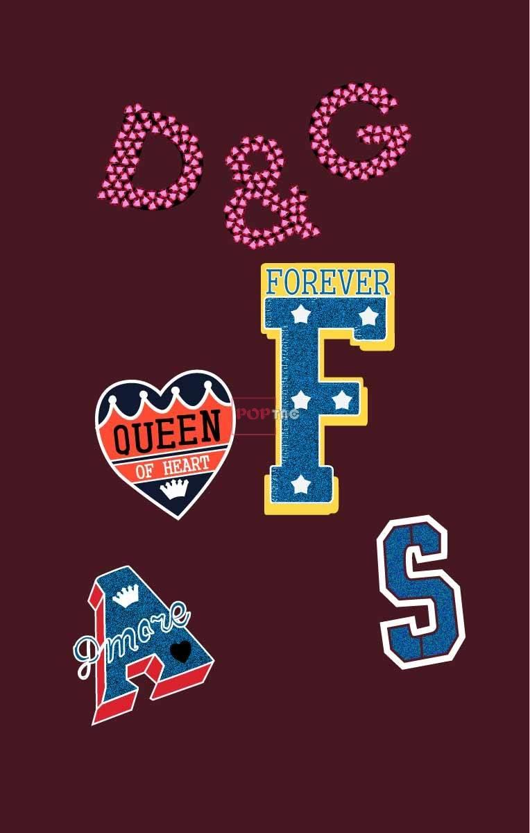 字母印花图案服装裁片T恤卫衣烫图印花花型素材-POP花型网