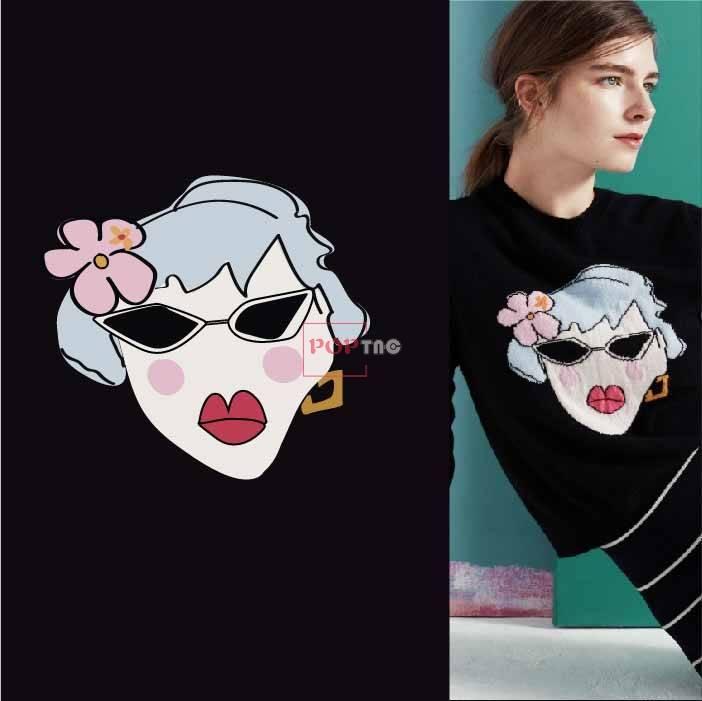 卡通女士人物印花图案服装裁片T恤卫衣烫图印花花型素材-POP花型网