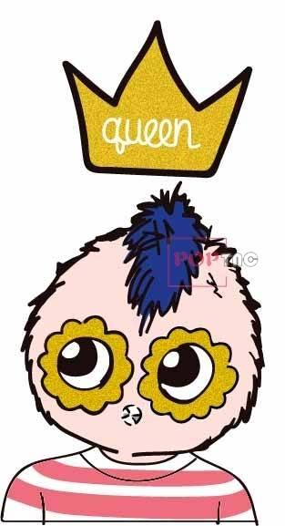 卡通人物皇冠字母印花图案服装裁片T恤卫衣烫图印花花型素材-POP花型网