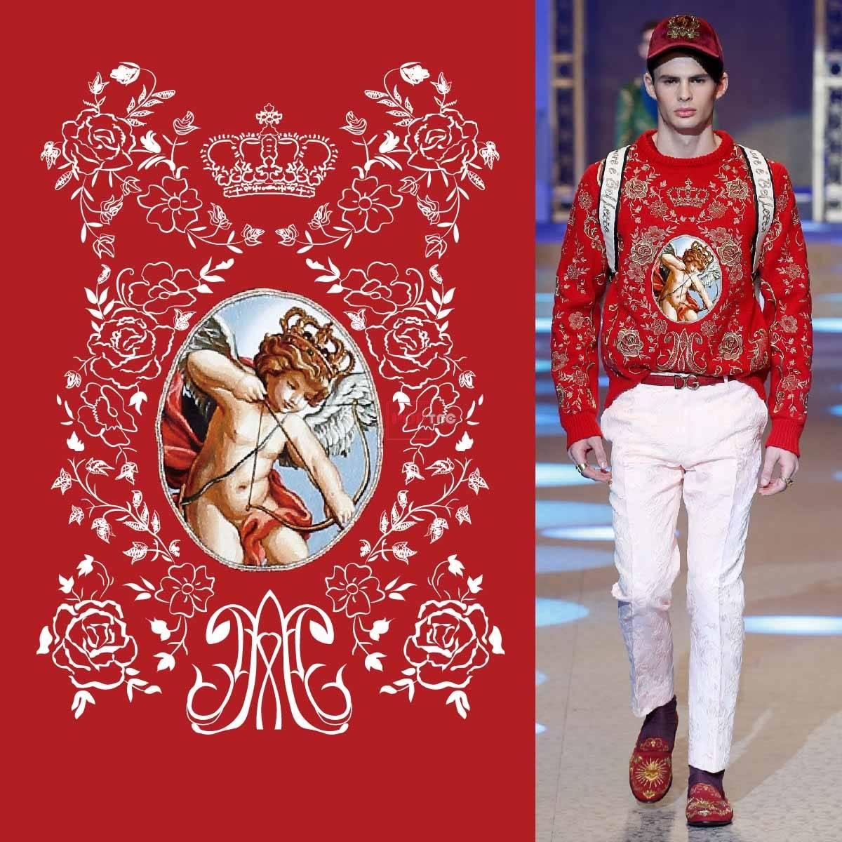 几何植物花纹丘比特皇冠印花图案服装裁片T恤卫衣烫图印花花型素材-POP花型网