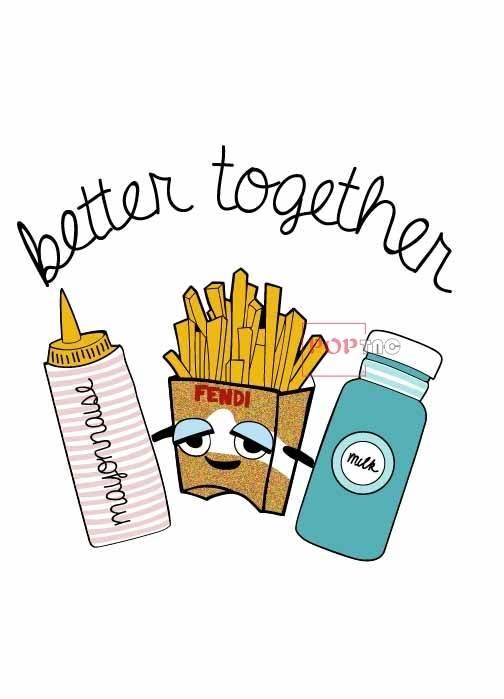 卡通薯条牛奶瓶字母印花图案服装裁片T恤卫衣烫图印花花型素材-POP花型网