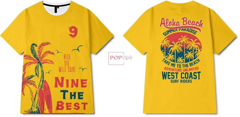 夏日风椰树冲浪板字母印花图案服装裁片T恤卫衣烫图印花花型素材-POP花型网