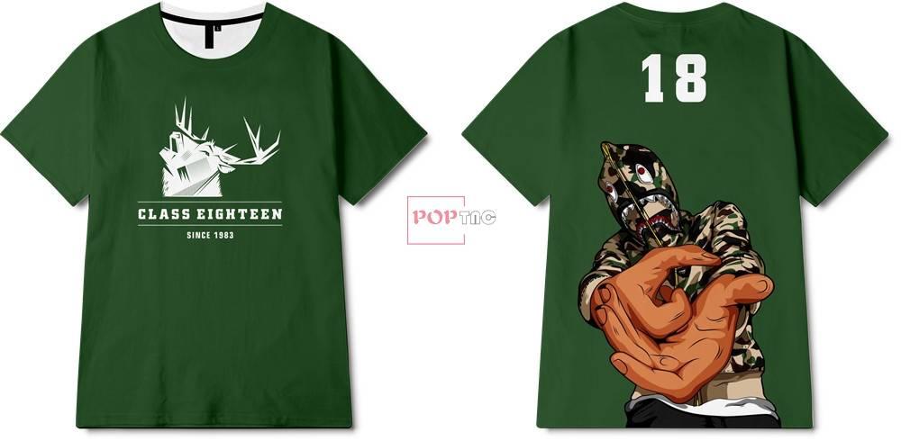 卡通人物驯鹿字母印花图案服装裁片T恤卫衣烫图印花花型素材-POP花型网