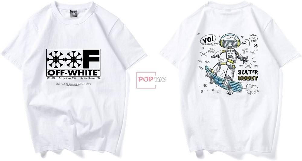 潮牌OFF-WHITE机器人滑板字母印花图案服装裁片T恤卫衣烫图印花花型素材-POP花型网