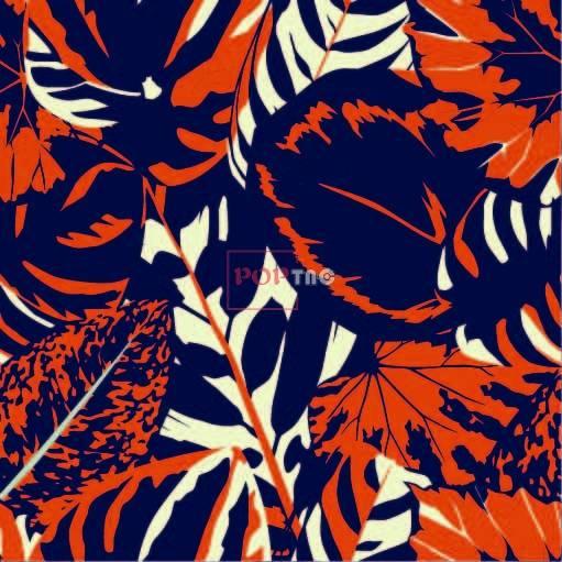 植物叶子热带印花花型服装纺织数码印花花型素材-POP花型网
