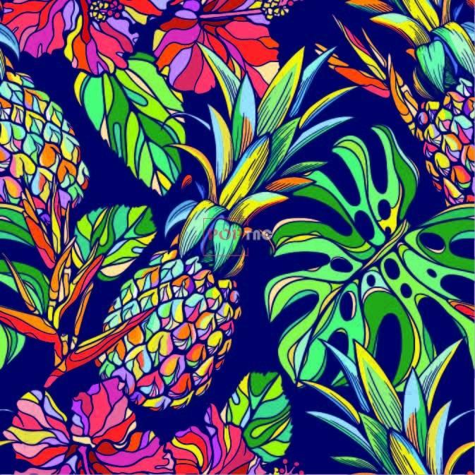 菠萝花卉印花图案服装纺织数码印花花型素材-POP花型网
